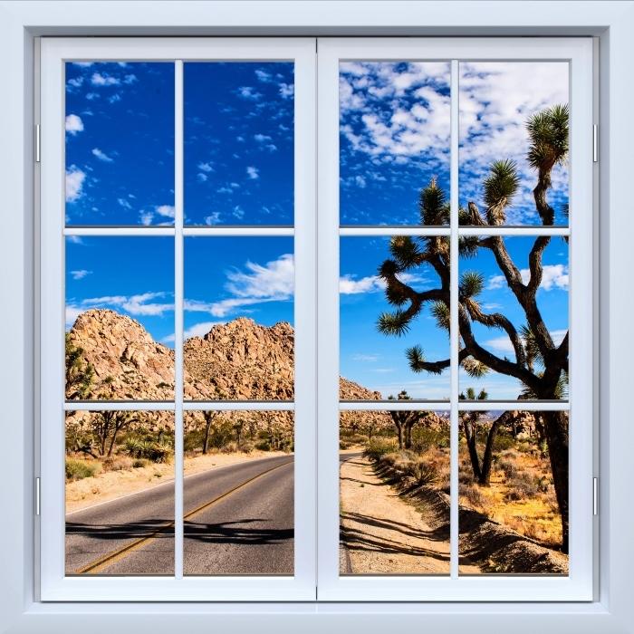 Vinyl-Fototapete Weiß geschlossen Fenster - Nationalpark in Kalifornien - Blick durch das Fenster