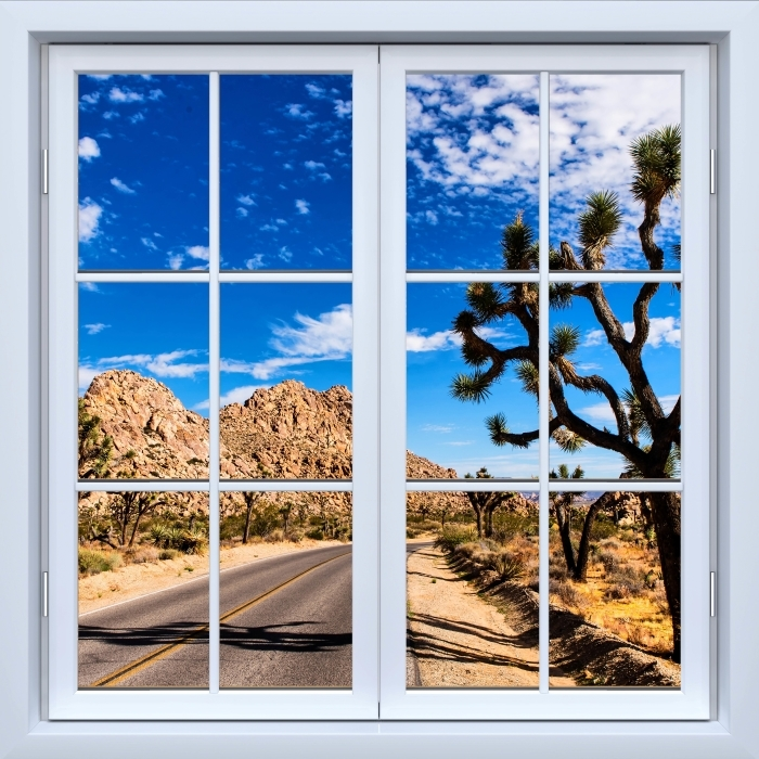 Papier peint vinyle Blanc fenêtre fermée - Parc national en Californie - La vue à travers la fenêtre