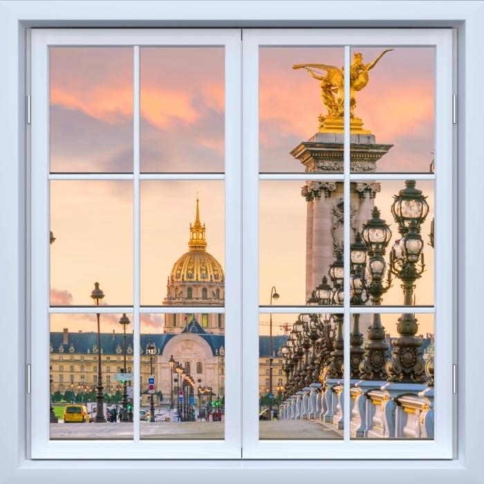 Vinyl Fotobehang White closed window - Pont Alexandre III. Parijs - Uitzicht door het raam