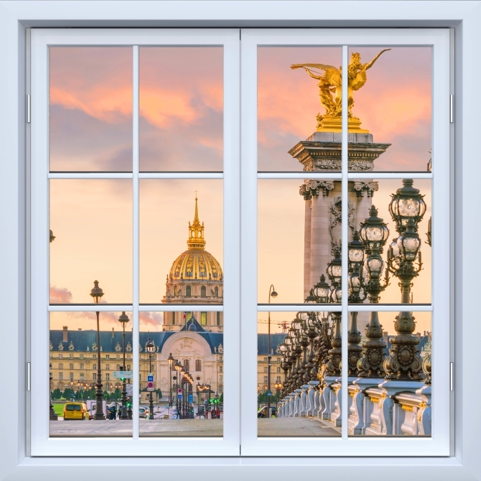 White closed window - Pont Alexandre III. Paris Pixerstick Sticker - View through the window