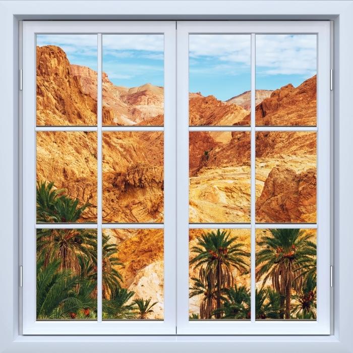 Vinyl-Fototapete Weiß Fenster geschlossen - Bergoase - Blick durch das Fenster