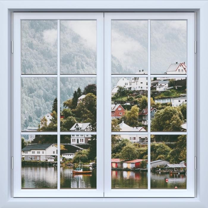Fototapeta winylowa Okno białe zamknięte - Mgliste góry. - Widok przez okno