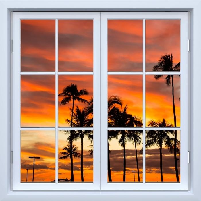 Vinyl-Fototapete Weiß geschlossen Fenster - Hawaii - Blick durch das Fenster