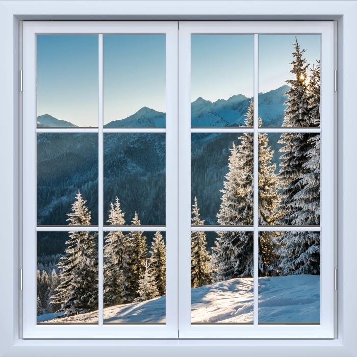 Vinyl-Fototapete Weiß geschlossene Fenster - Tatry - Blick durch das Fenster