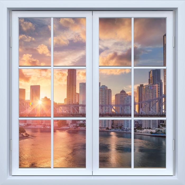 Fototapeta winylowa Okno białe zamknięte - Brisbane. - Widok przez okno