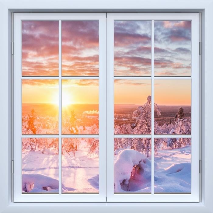 Papier peint vinyle Blanc fenêtre fermée - le coucher du soleil Scandinavie - La vue à travers la fenêtre