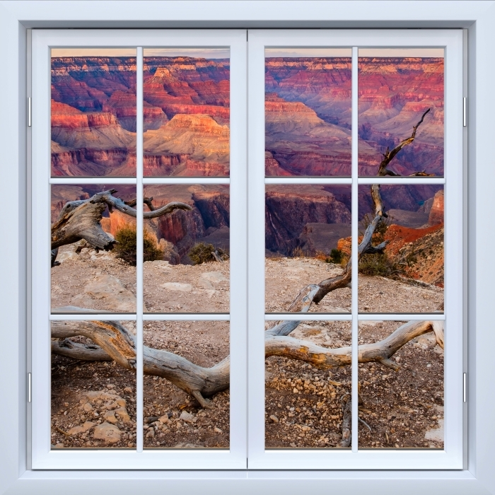 Vinyl-Fototapete Weiß Fenster geschlossen - Grand Canyon - Blick durch das Fenster