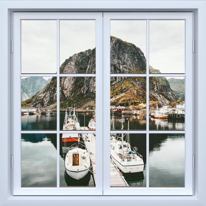 Papier peint vinyle Blanc fenêtre fermée - Paysage. Norvège - La vue à travers la fenêtre