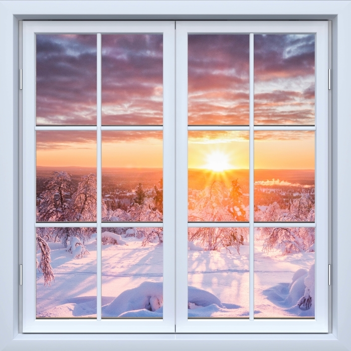 Papier peint vinyle Blanc fenêtre fermée - Scandinavie. Paysage au coucher du soleil - La vue à travers la fenêtre