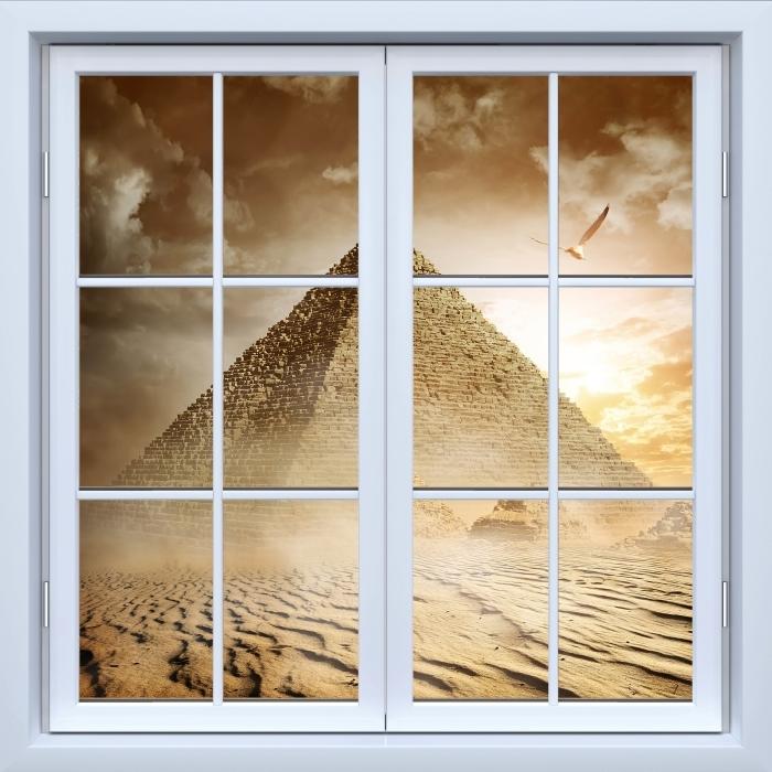 Fototapeta winylowa Okno białe zamknięte - Pustynia - Widok przez okno