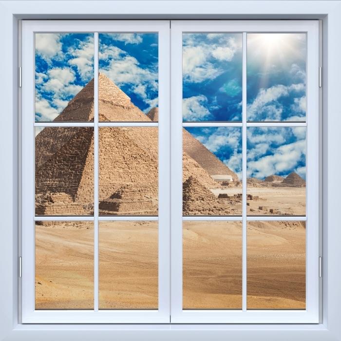 Vinyl-Fototapete Weiß geschlossen Fenster - Ägypten - Blick durch das Fenster