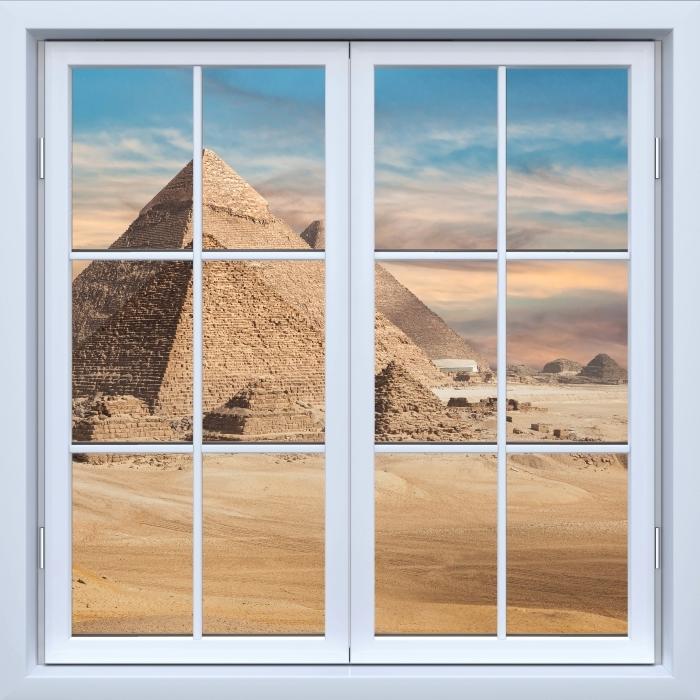 Papier peint vinyle Blanc fenêtre fermée - Egypte - La vue à travers la fenêtre