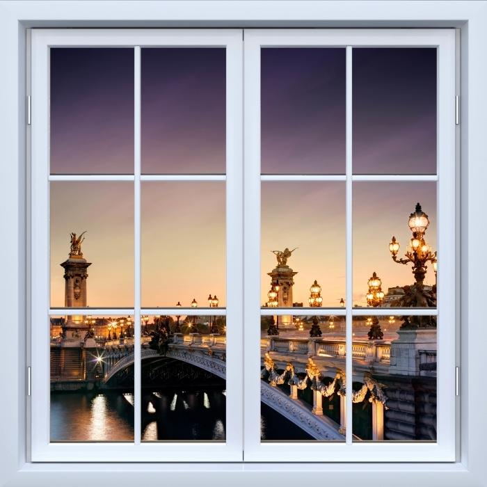 Fototapeta winylowa Okno białe zamknięte - Most w Paryżu - Widok przez okno