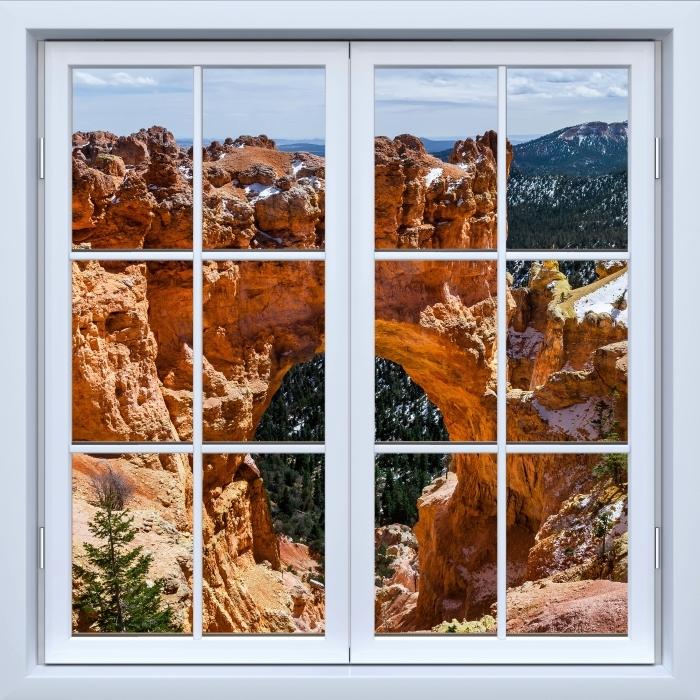 Papier peint vinyle Blanc fenêtre fermée - Canyon - La vue à travers la fenêtre