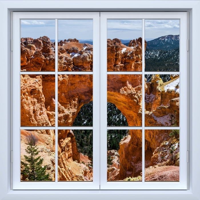 White closed window - Canyon Vinyl Wall Mural - View through the window
