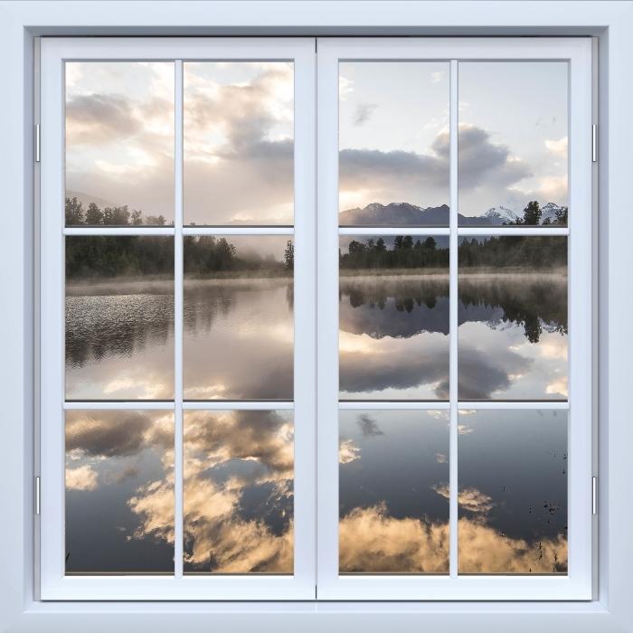 Fototapeta winylowa Okno białe zamknięte - Jezioro. Nowa Zelandia. - Widok przez okno