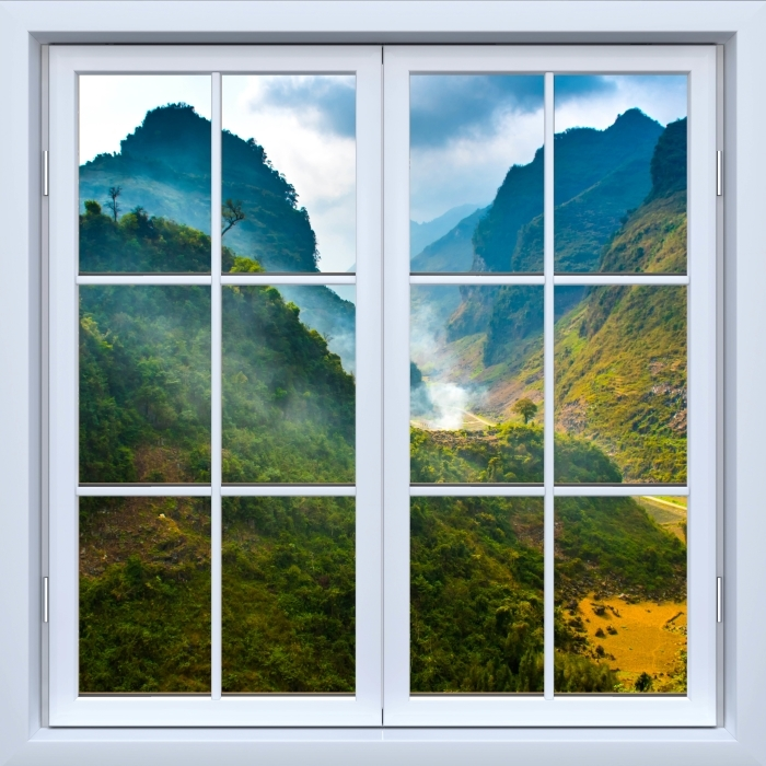 Fototapeta winylowa Okno białe zamknięte - Ha Giang. Wietnam. - Widok przez okno