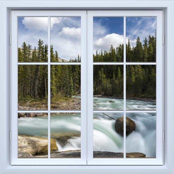 Vinyl Fotobehang White closed window - Canada - Uitzicht door het raam