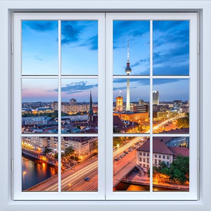 Carta da Parati in Vinile Bianco finestra chiusa - Veduta di Berlino - Vista attraverso la finestra