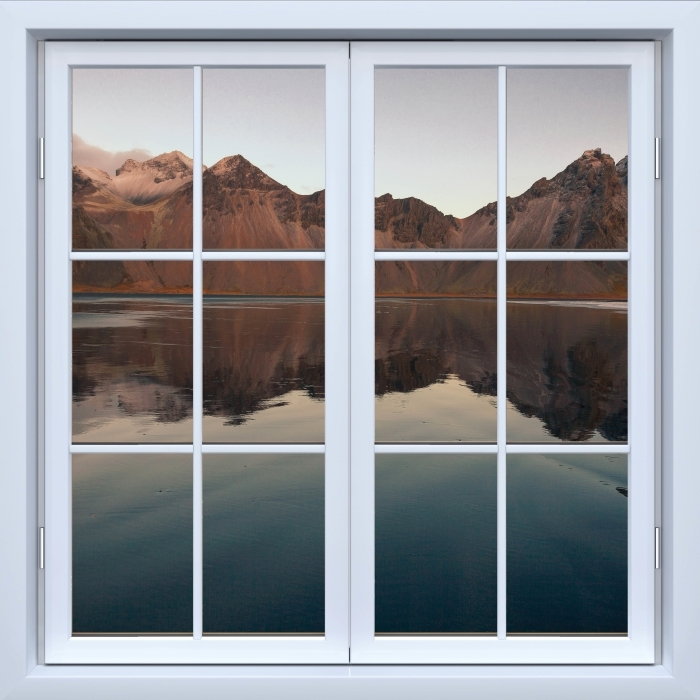 Vinyl Fotobehang White closed window - Island - Uitzicht door het raam