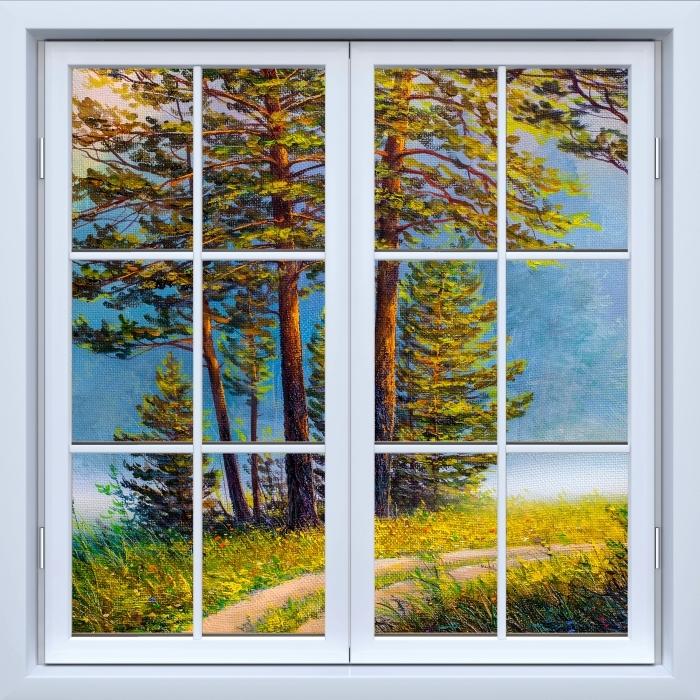 Papier peint vinyle Blanc fenêtre fermée - forêt d'été - La vue à travers la fenêtre