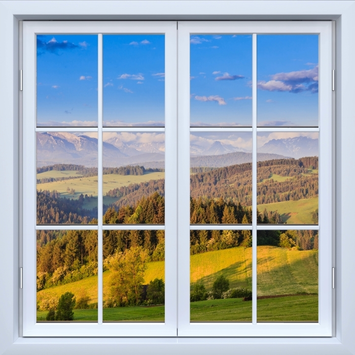 Papier peint vinyle Blanc fenêtre fermée - Pieniny. Pologne. - La vue à travers la fenêtre
