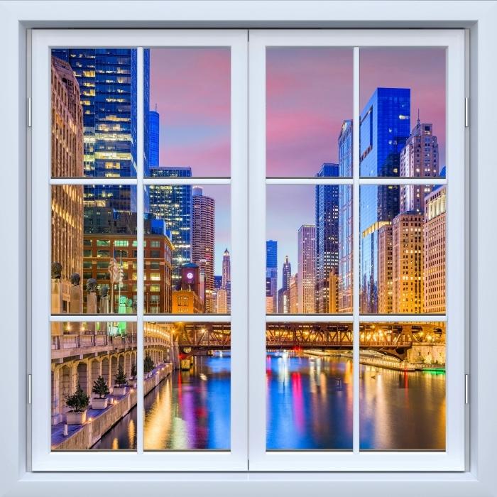 Fototapeta winylowa Okno białe zamknięte - Chicago, Illinois, USA. - Widok przez okno
