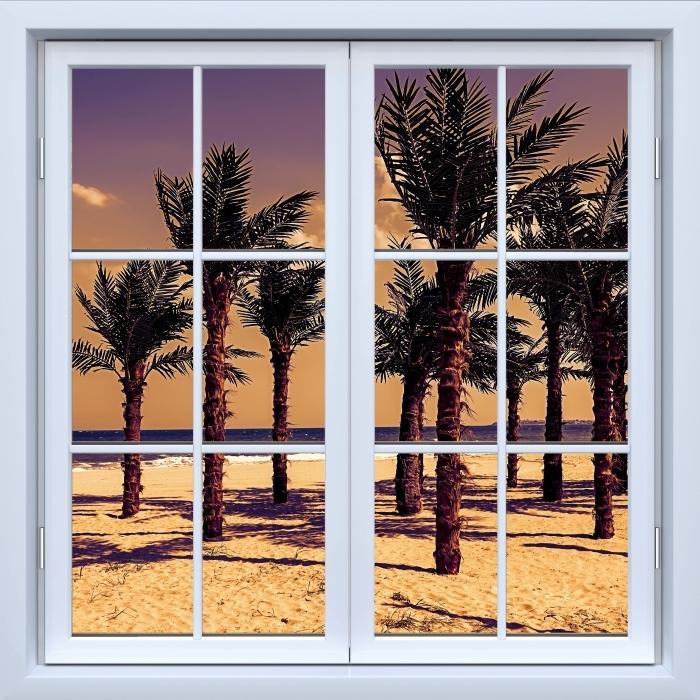 Fototapeta winylowa Okno białe zamknięte - Palmy - Widok przez okno
