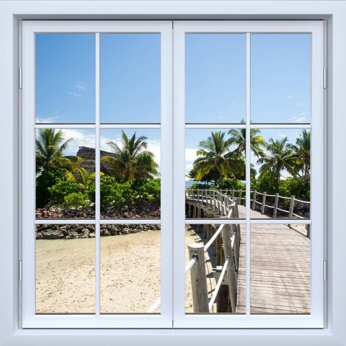 White closed window - along the bridge Vinyl Wall Mural - View through the window