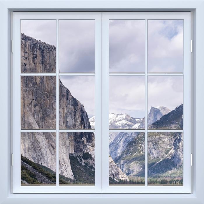 Papier peint vinyle fenêtre fermée Blanc - Parc national de Yosemite - La vue à travers la fenêtre