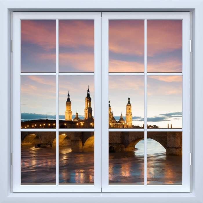 Papier peint vinyle Blanc fenêtre fermée - cathédrale. Espagne. - La vue à travers la fenêtre