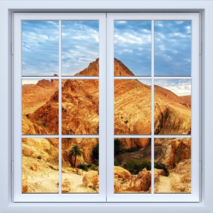 Vinyl Fotobehang White raam gesloten - Mountain oasis - Uitzicht door het raam