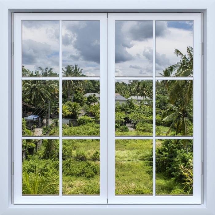 Papier peint vinyle Blanc fenêtre fermée - Rice Field - La vue à travers la fenêtre