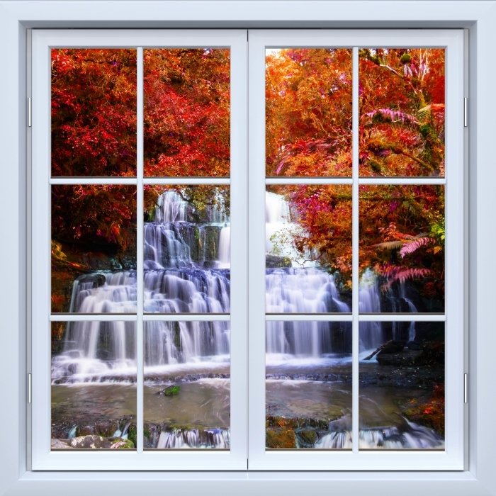White closed window - Waterfall in the jungle. New Zealand Vinyl Wall Mural - View through the window