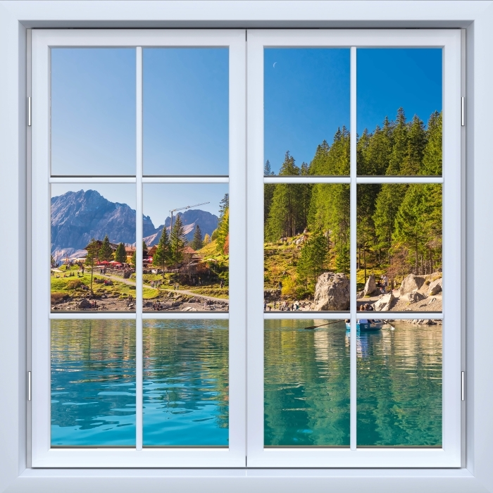 Fototapeta winylowa Okno białe zamknięte - Błękitne jezioro. Szwajcaria. - Widok przez okno