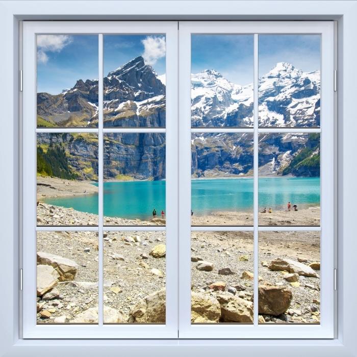 Papier peint vinyle Blanc fenêtre fermée - Lac. Suisse - La vue à travers la fenêtre
