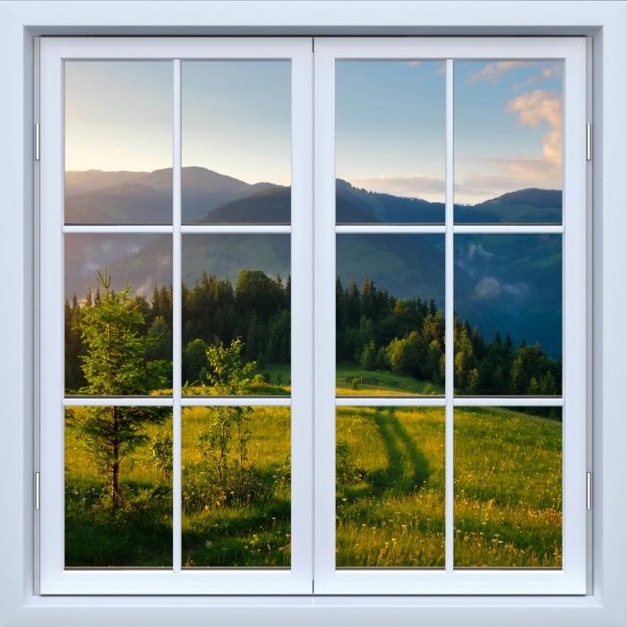 Vinyl Fotobehang White raam gesloten - Mountain Valley - Uitzicht door het raam