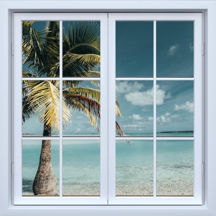 Fototapeta winylowa Okno białe zamknięte - gotować drzewo Palm Island - Widok przez okno