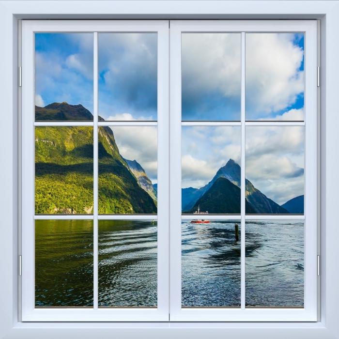 Vinyl-Fototapete Weiß geschlossene Fenster - Küste und Berge - Blick durch das Fenster