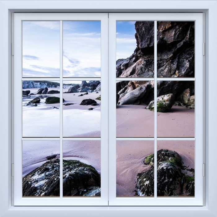 White closed window - Coast in France. Vinyl Wall Mural - View through the window