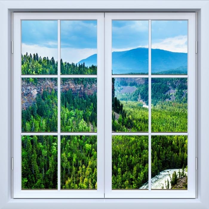 Vinyl-Fototapete Weiß geschlossen Fenster - Kolumbien. - Blick durch das Fenster