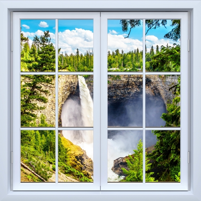 White closed window - Mountains. Canada. Vinyl Wall Mural - View through the window