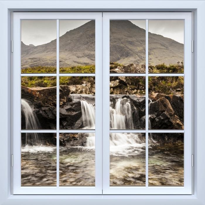 Vinyl Fotobehang White closed window - Fairy zwembaden - Uitzicht door het raam