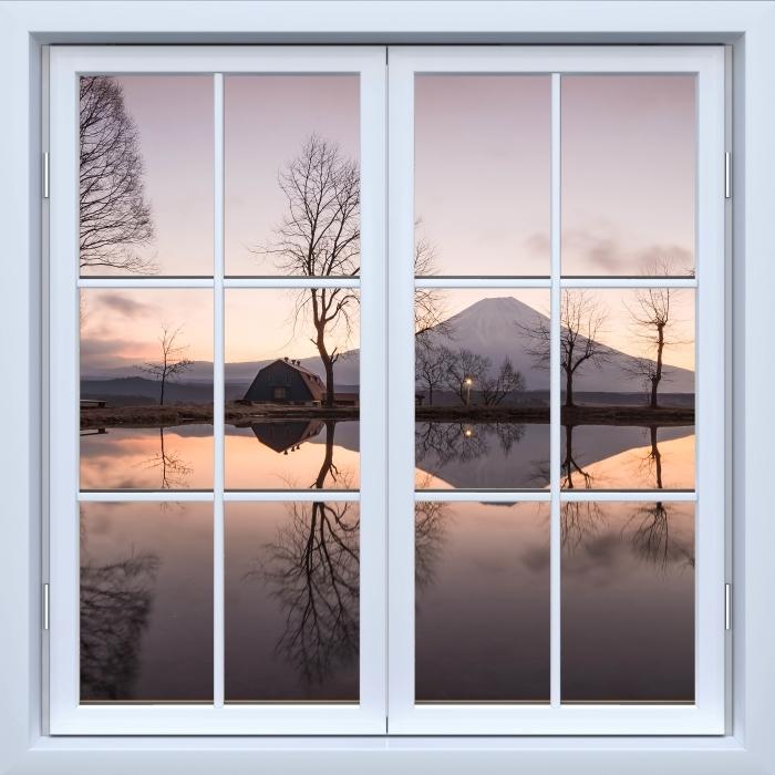 Vinyl Fotobehang White closed window - Mount Fuji - Uitzicht door het raam