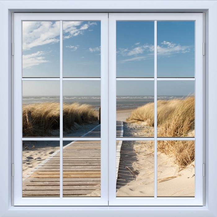 Fotomural Estándar Mar del Norte Strand auf Langeoog - Blanco ventana cerrada - Vistas a través de la ventana