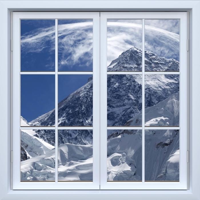 Papier peint vinyle Blanc fenêtre fermée - le mont Everest - La vue à travers la fenêtre