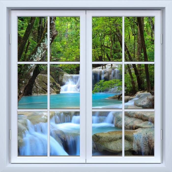 White closed window - Erawan Waterfall. Thailand Vinyl Wall Mural - View through the window