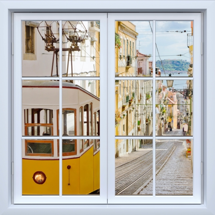 White closed window - Lisbon. Vinyl Wall Mural - View through the window