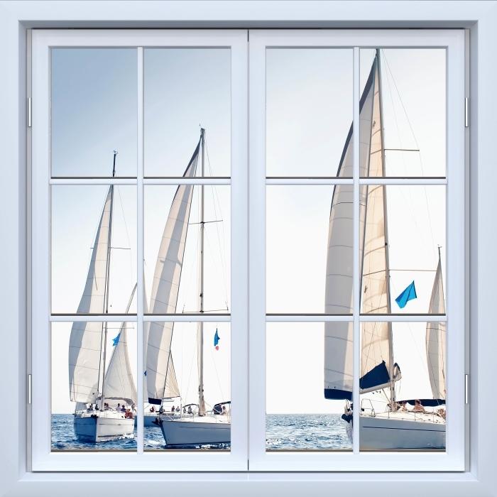 Vinyl-Fototapete Weiß geschlossene Fenster - Yachten mit weißen Segeln - Blick durch das Fenster