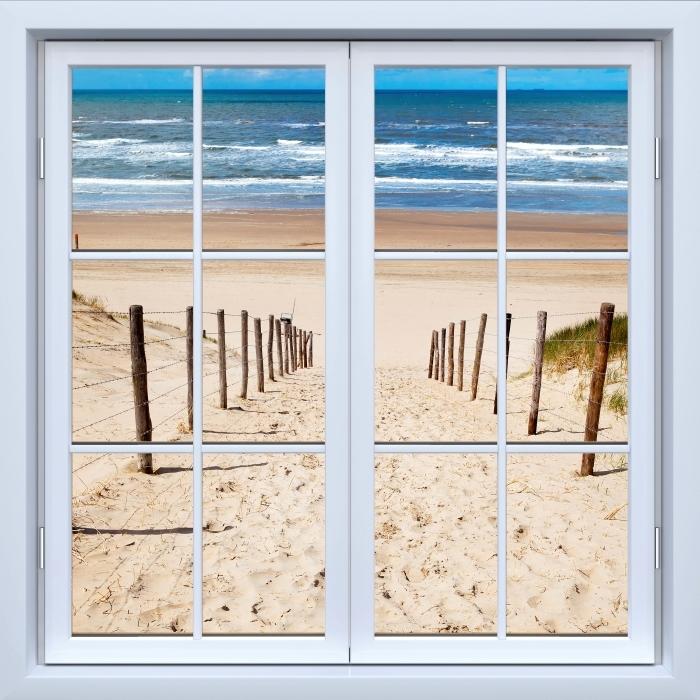 Papier peint vinyle Blanc fenêtre fermée - La route de la plage - La vue à travers la fenêtre